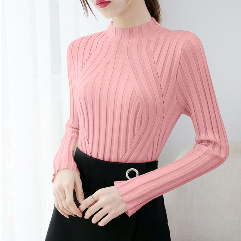 2019 Sweater Women Solid Geometri Pattern Casual Tops Knitwear Winter Long Sleeve Clothes Jumper Sweaters Pull Femme Pullover