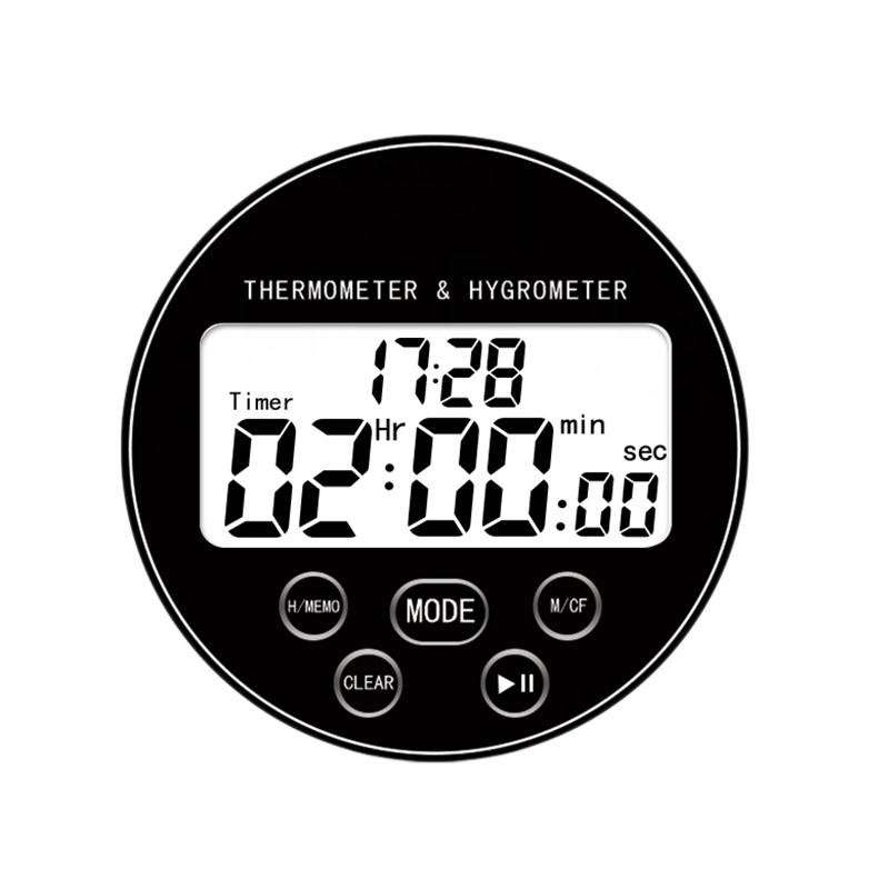 Digital Wireless Thermometer With Hygrometer Temperature Gauge Calendar Alarm Indoor Multifunctional Lcd Display And Timer