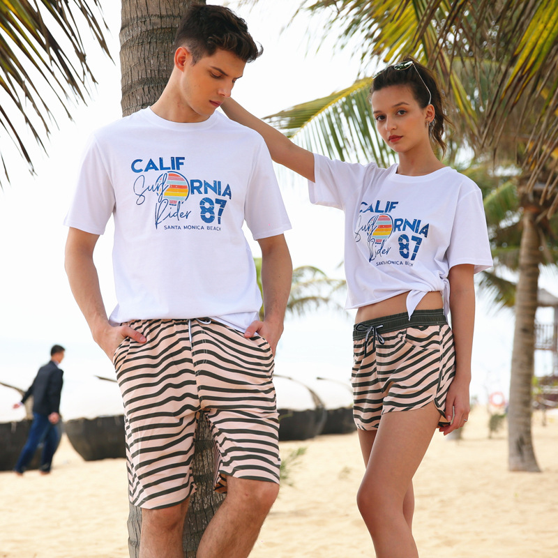 Shang Hai Feng Beach Shorts Couples Seaside Holiday Surfing Swimming Shorts Men And Women Large Trunks Swimming Trunks
