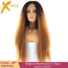 X TRESS Lange Kinky Rechte Synthetisch Haar Kant Pruiken Voor Vrouwen Ombre Bruin Blond Kleur Lace Front Pruik Met Natuurlijke Haarlijn