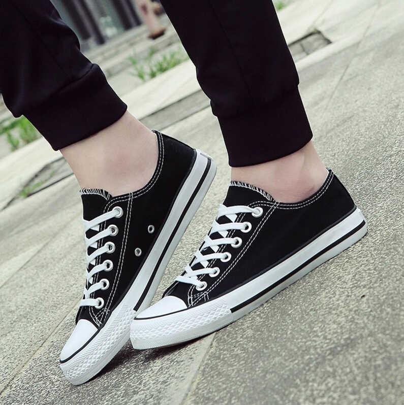 Venta caliente zapatos de lona para hombre moda Otoño negro blanco hombres Casual zapatos transpirables hombres zapatillas tamaño 38-46 ST22