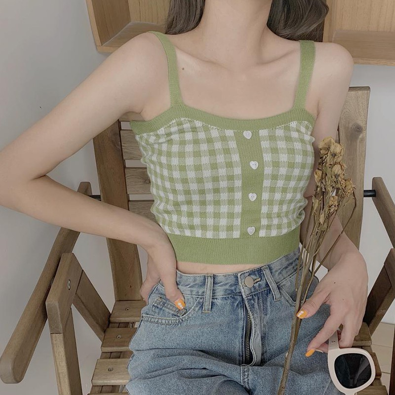 4 Color Retro Sweet Plaid Pattern Knit Camisole Sexy Slim Women's Bottoming Crop Top Knitted Black/Green/Blue/Red 4 Color Camis