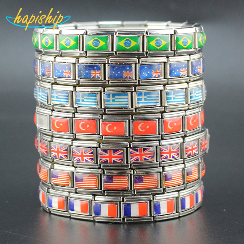 Hapiship 7 Jewelry USA/UK/DE/AU/TR/GR National Flag Stainless Steel Bracelet Bangle GGQ