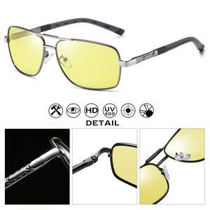 Image 4 - Kwadratowe okulary mężczyźni spolaryzowane fotochromowe dzień bezpieczeństwo w nocy jazdy okulary kobiety HD kwadratowe okulary gafas de sol hombre