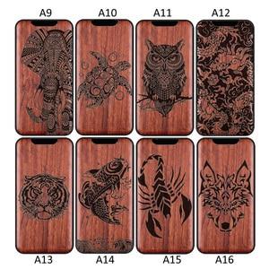 Image 3 - 3D Geschnitzte Holz Cartoon Bär Fall Für Huawei P40 Pro Pro + Plus Drachen Lion Wolf Tiger Baum holz schnitzen abdeckung