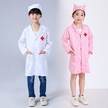 Girl Boy Doctor Nurse Medical Uniforms Kids White Surgical Cap Robe Lab Coat Children Scrub Cap Medico Hospital Cosplay Costumes(China)