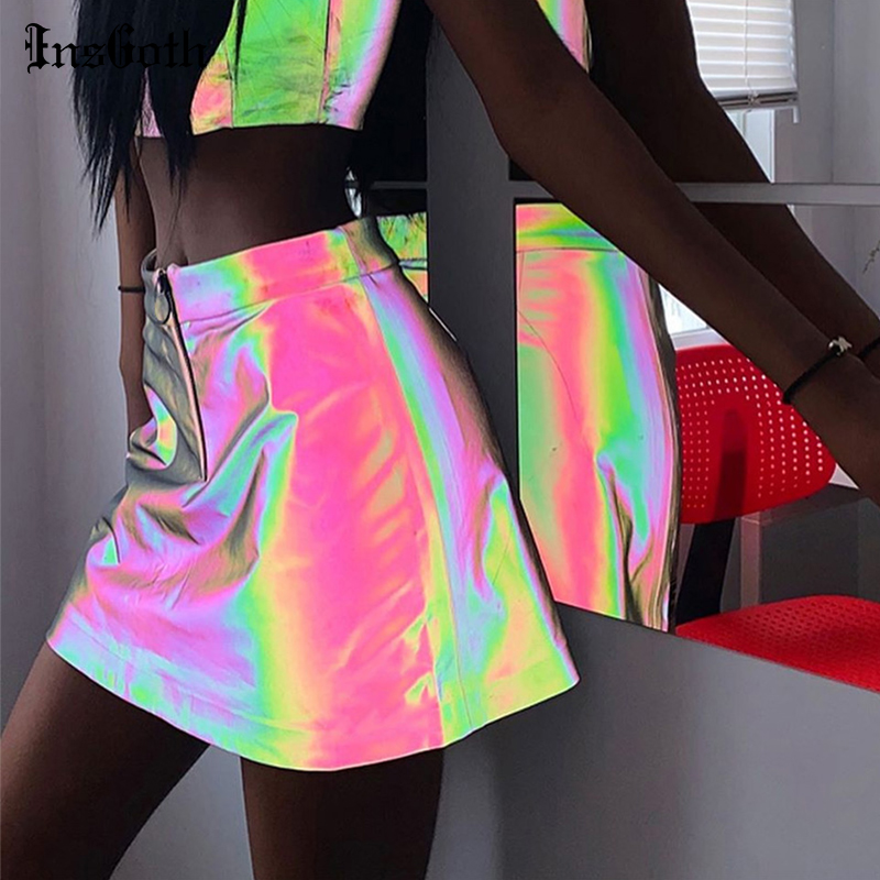 InsGoth High Waist A-line Skirts Streetwear Colorful Reflective Skirts Women Summer Fashion Party Nighclub Female Skirts