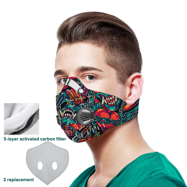 3D printing Mouth-muffle Face Mask Breathing Anti-dust PM 2.5 Dustproof Mask With Activated Carbon Filter Reusable Mouth Mask 3