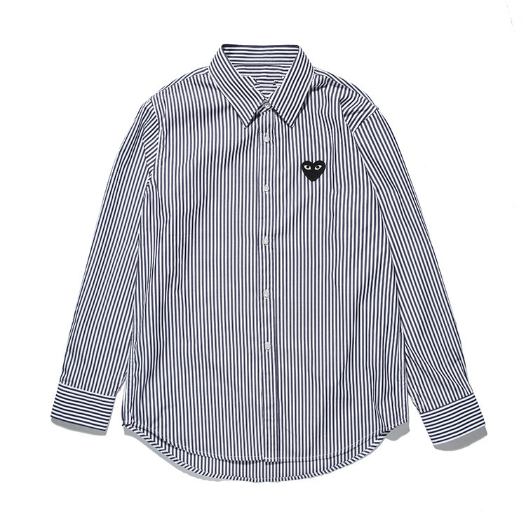 2020 Spring Embroidered Peach Heart Knitted Shirt Love Men's And Women's Cotton Stripe Long Sleeve Shirt H2