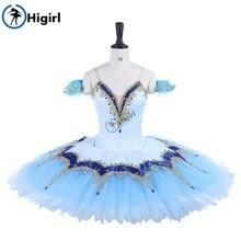 Professional Ballet dress Blue Gold,Women Nutcracker Pancake Tutu Performance Tutu,Adult Classical CostumeBT9255