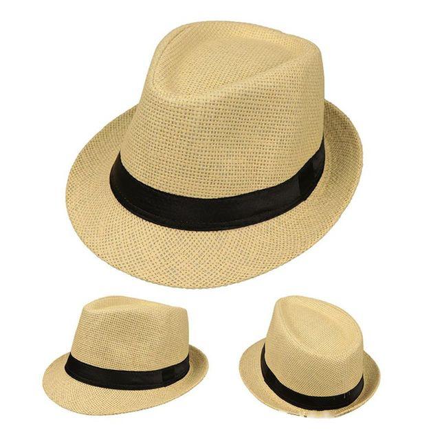 Children Kids Summer Beach Straw Hat Jazz Panama Trilby Fedora Hat Gangster Cap Outdoor Breathable Hats Girls Boys Sunhat
