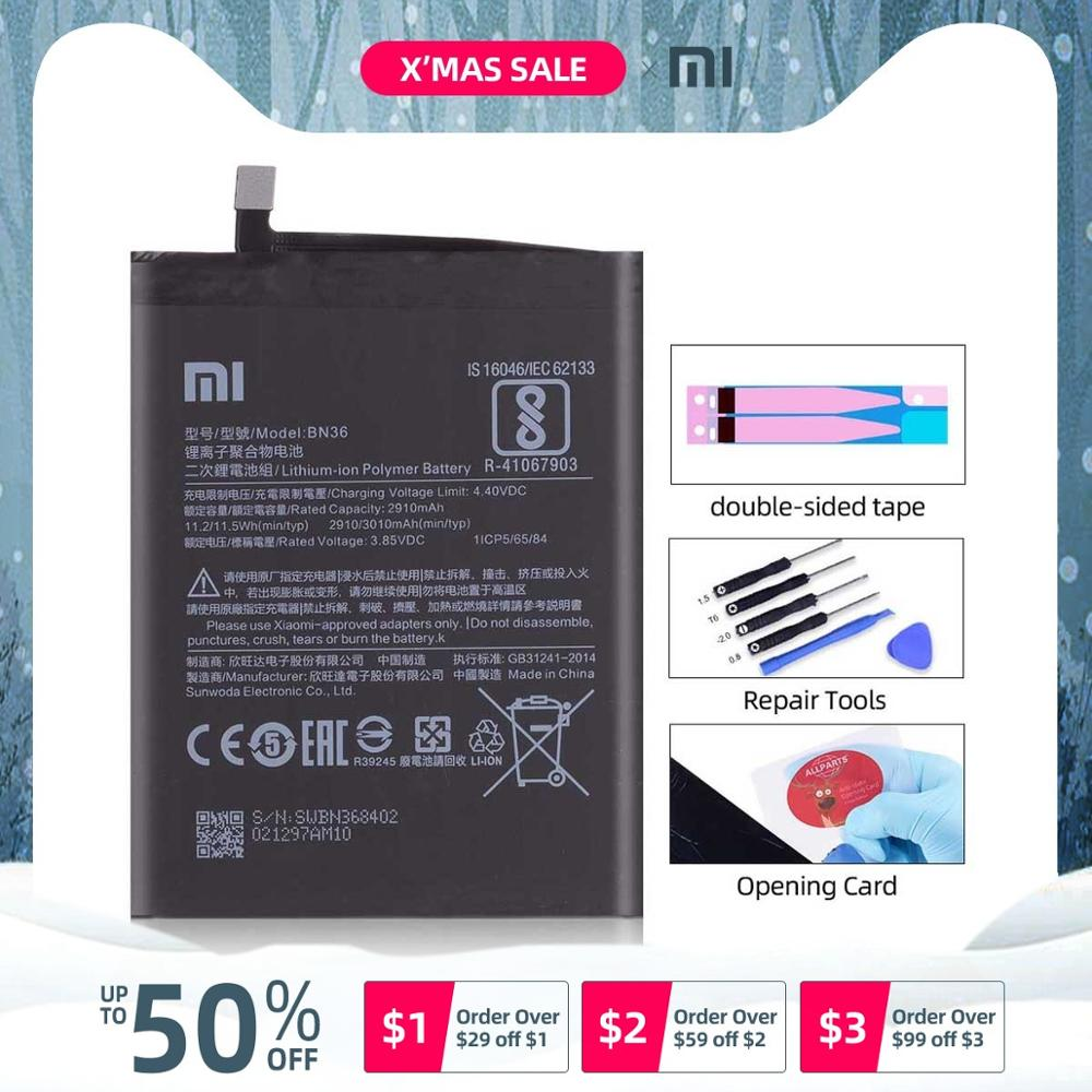 Original <font><b>Battery</b></font> For xiaomi <font><b>mi</b></font> a2 <font><b>battery</b></font> BN36 2910mAh Full Capacity For Xiaomi <font><b>mi</b></font> <font><b>6x</b></font> <font><b>Battery</b></font> image