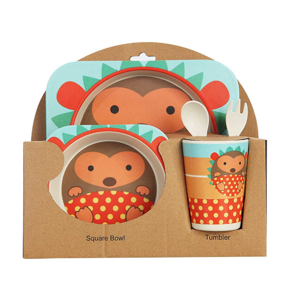 5 Pcs/set Bayi Hidangan Set Ramah Lingkungan Serat Bambu Makan Lucu Kartun Hewan Mangkuk Peralatan Makan Anak Anak Anak Gadis Hadiah