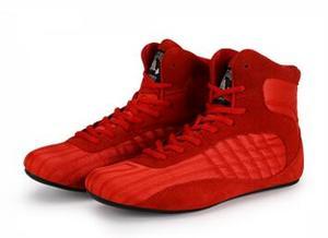 Zapatos para levantar pesas de lucha de boxeo profesional para hombre, botas de combate de boxeo de entrenamiento usable de cuero genuino