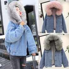 купить Women Warm Denim Jean Jacket Short Coat Faux Fur Collar Jacket Slim Winter Hooded Outwear Coats Winter Warm Denim Coat по цене 2148.68 рублей
