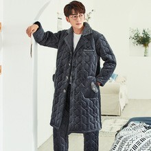 Pajamas Men's Autumn and Winter Coral Fleece Quilted Thickened Flannel Mid-length Warm Suit Pijama Invierno Hombre Dormir Tops