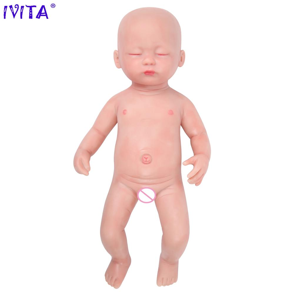 IVITA WG1509 38cm 1.8kg Girl Eyes Closed High Quality Full Body Silicone Reborn Dolls Babies Born Alive Toys with Clothes