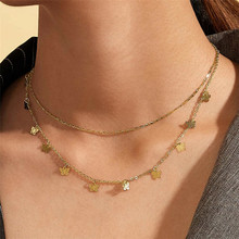 WUKALO Vintage Boho Gold Coin Layered Necklace For Women Punk Vintage Butterfly Chain Long Choker Collar Pendant Necklaces vintage bohemia gold coin letter layered chain necklace for women shell pearl moon long choker collar pendant butterfly necklace