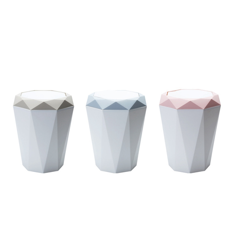 Hot Sale Flap Type Trash Can Bin Living Room Kitchen Garbage Home Bathroom Accessories Beige|Waste Bins| |  - title=