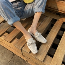 2021 New Spring/Autumn Women Shoes Square Toe Low-Heel Comfortable Flat Shoes Casual Solid Macaron Color Genuine Leather Loafers