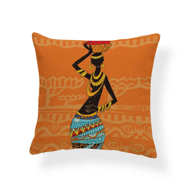 Gối Lưng Châu Phi Phụ Nữ Bản Địa Quốc Gia Phong Cách Đệm Nhà Sofa Vuông Trang Trí Vỏ Gối Tựa 45*45Cm