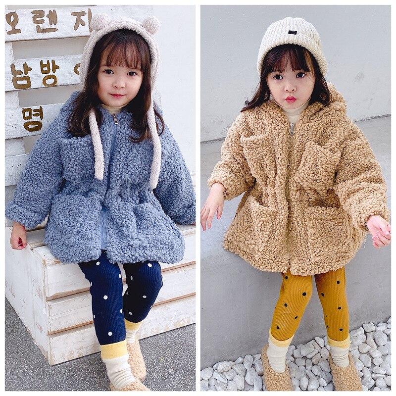 Mode filles polaire à capuche manteau automne hiver enfants ours en peluche veste bébé fille veste 1-5 ans