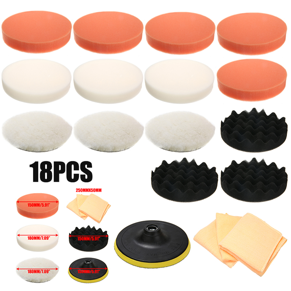 18Pcs/set Plastic Polishing Sponge Polishing Pads Adapter Microfiber Cloth Kit for Polishing Machine Power Tools Accessories Polishing Pads     - title=