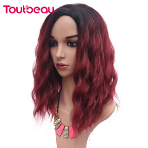 Ombre Red Wigs Synthetic Hair Short Curly Bob Wig Natural Wavy Wigs For Women Daily Party Cosplay Wig Heat Resistant 16inch 220g(China)