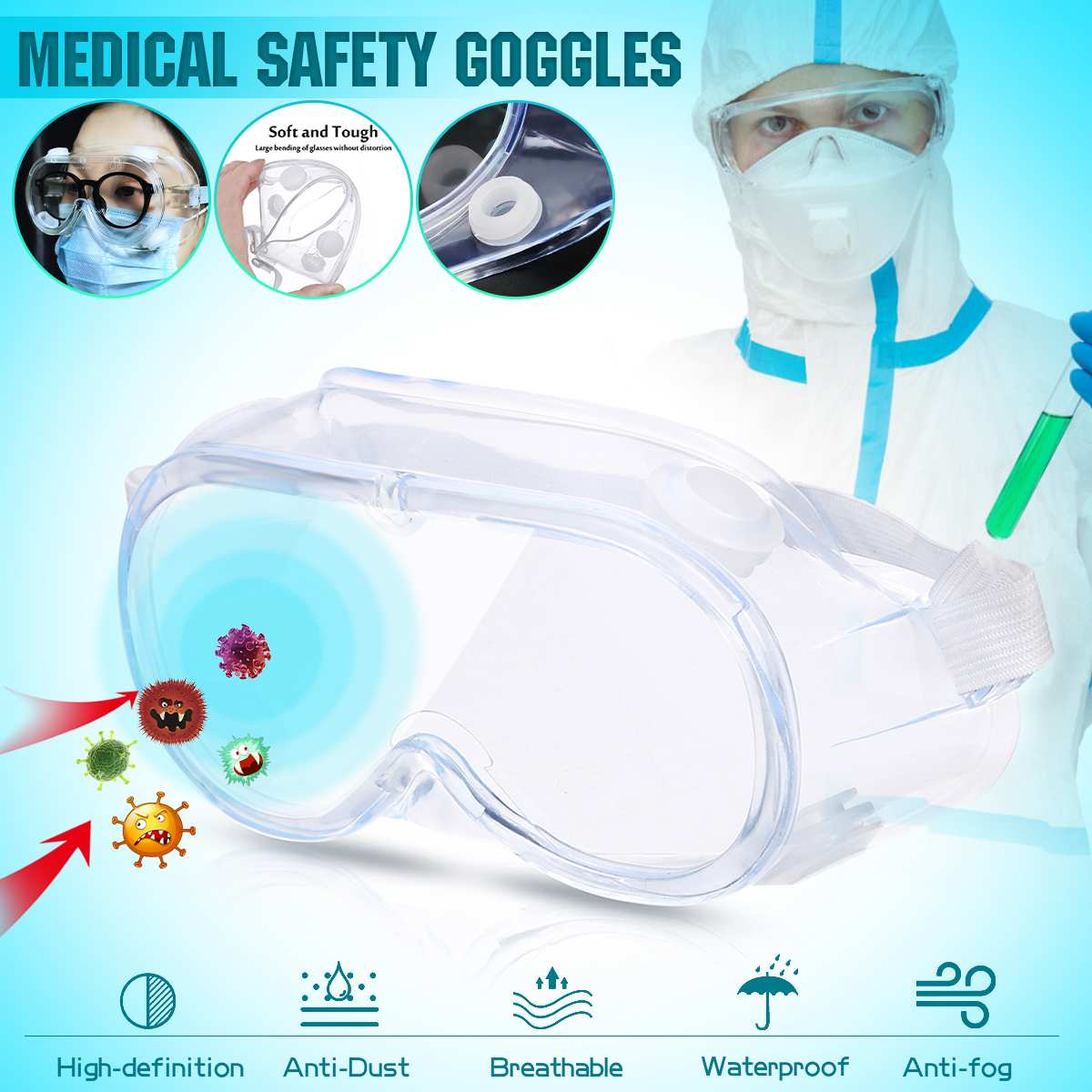 Medical Safety Goggles Transparent Lens Goggles Eye Protective Glasses Anti-Fog Antisand Dust Resist UV Light Fully Enclosed