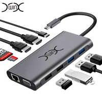 YXwin USB C Hub 11 en 1 Multi HDMI RJ45 VGA USB HUB 3.0 adaptateur Dock pour MacBook Pro lecteur de carte USB séparateur Type C USB HUB
