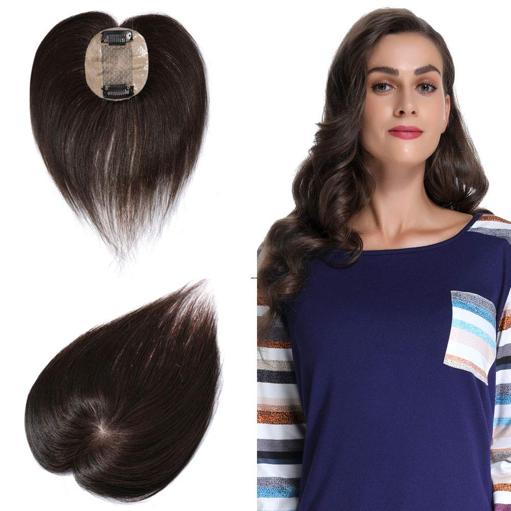 100% Human Hair Silk Base Top Hairpiece For Women Clip In Crown Topper Hand-made Toppee Hair Top Piece Thinning Hair