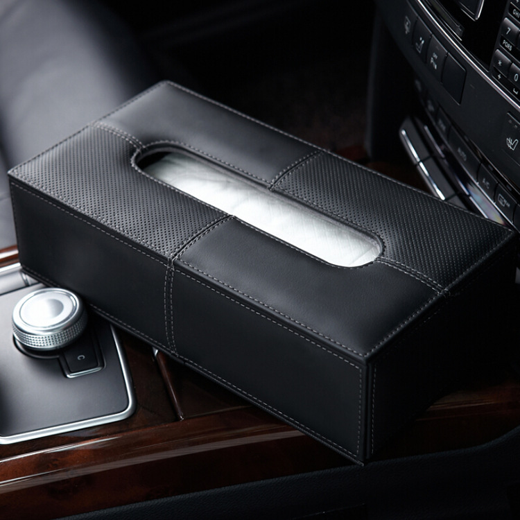 Car Tissue Box Genuine Leather Car Mounted Tissue Box Cover Car Paper Extraction Box Home Office Can Zhi He Case Interior Trim S