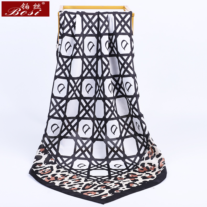 BOSI Fashion Scarf White Plaid Leopard Print Silk Satin Scarf For Women Print Shawl Spring Elegant Luxury Brand Square Scarves