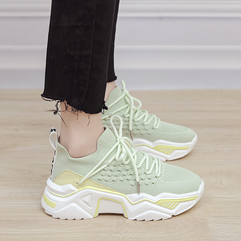 Knit Platform Sneakers Women Stretch Fabric Breathable Sock Sneakers Casual Shoes Chunky Trainers Women white black green