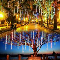 New Year 30cm Outdoor Solar Meteor Shower Rain 10 Tubes LED String Lights Multi Colors Waterproof For Wedding Party Decoration