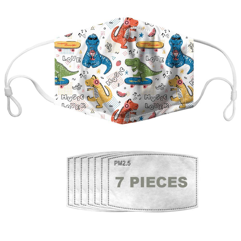 NOISYDESIGNS Cloth Mouth Masks For Kids Adults With 7pcs Filters Cute Dinosaur Mundschutz Maske Waschbar Mascherine Per Bambini