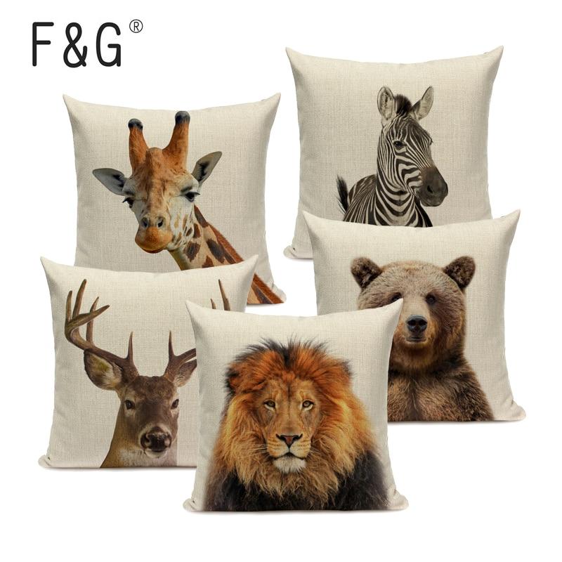 Animal Series Cushion Cover Home Decor Tiger Elephant Monkey Throw Pillows Covers  Linen Pillowcase For Sofa Decoration