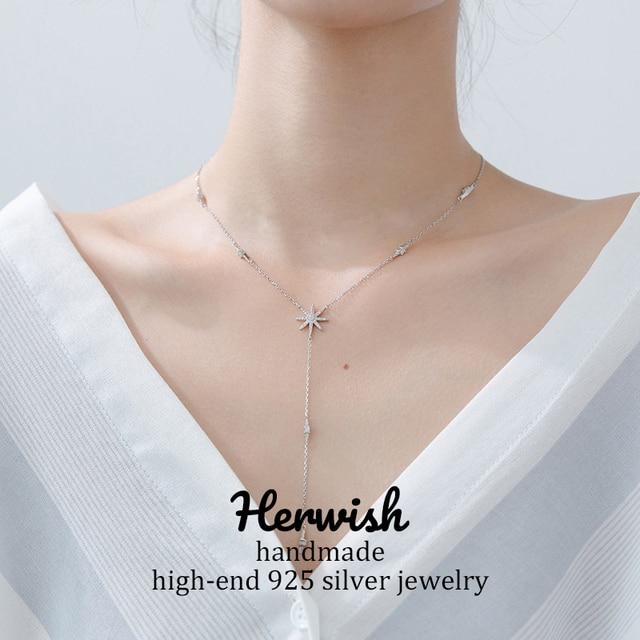 Herwish بلينغ تألق النجوم قلادة طويلة قلادة 925 فضة رومانسية الشمس زهرة الكورية مجوهرات مثير النساء الملحقات