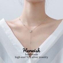 Herwish Bling Starry Shine długi naszyjnik 925 srebro romantyczny słonecznik koreańska biżuteria Sexy kobiety akcesoria