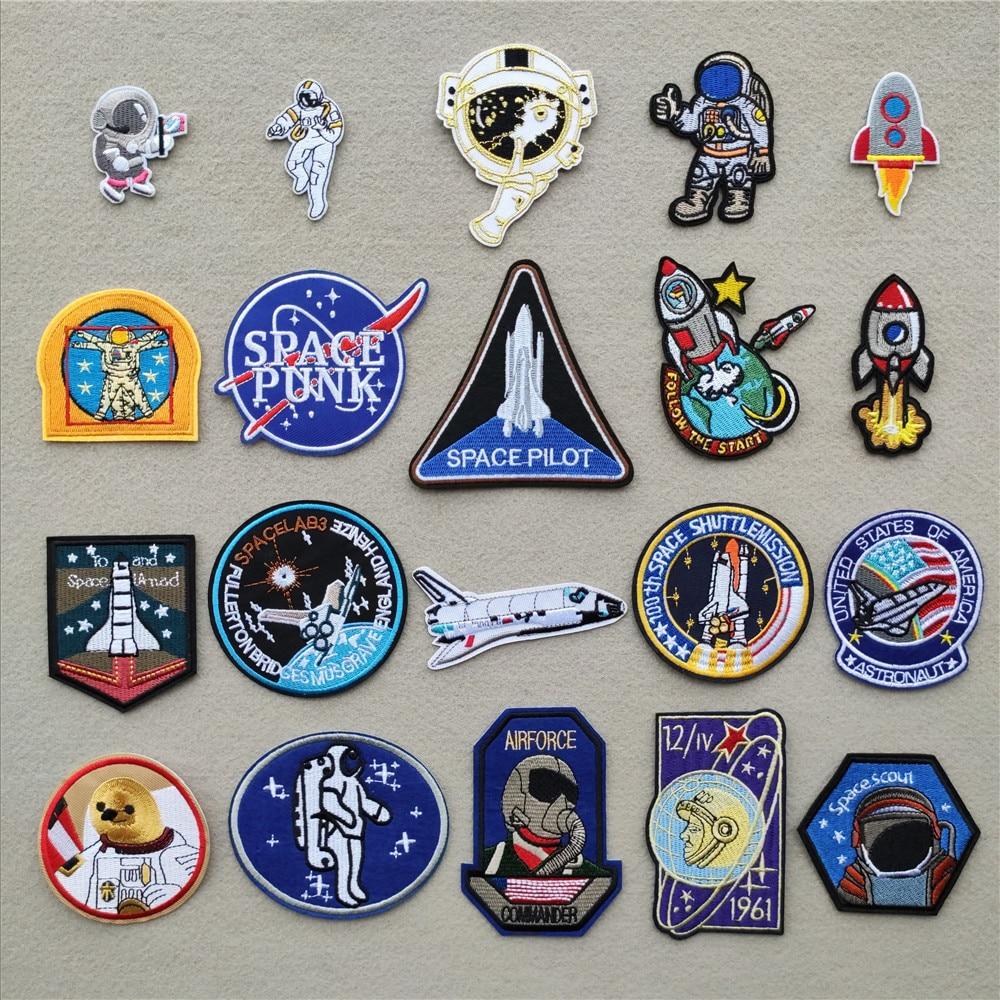 Astronauta roupas remendos para listras foguete vestuário adesivo ferro na transferência applique espaço navio bordado distintivo para mochila|Patches|   -
