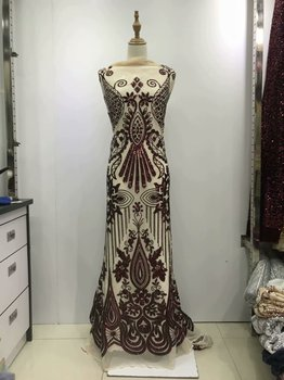 2019 Latest Nigerian Laces Fabrics High Quality Tulle African Laces Fabric Wedding African Sequins Tulle Lace Dress JL30961