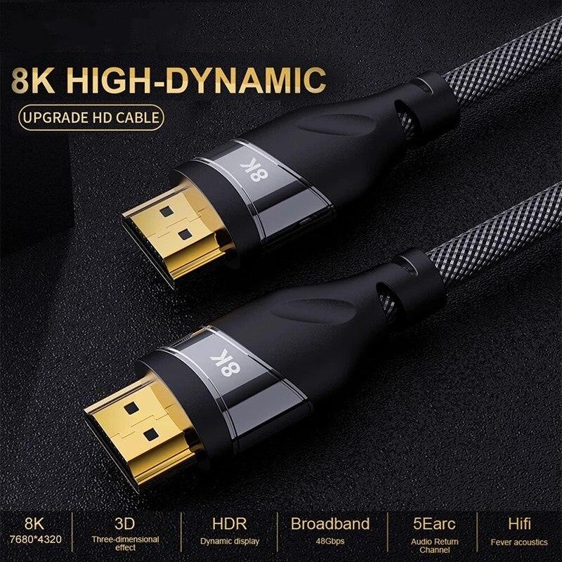 Высокоскоростной кабель HD 48 Гбит/с 8K @ 60 Гц 4K @ 120 Гц HDMI-совместимый кабель 2,1 с плетеным шнуром Ultra для Samsung QLED TV Roku PS4