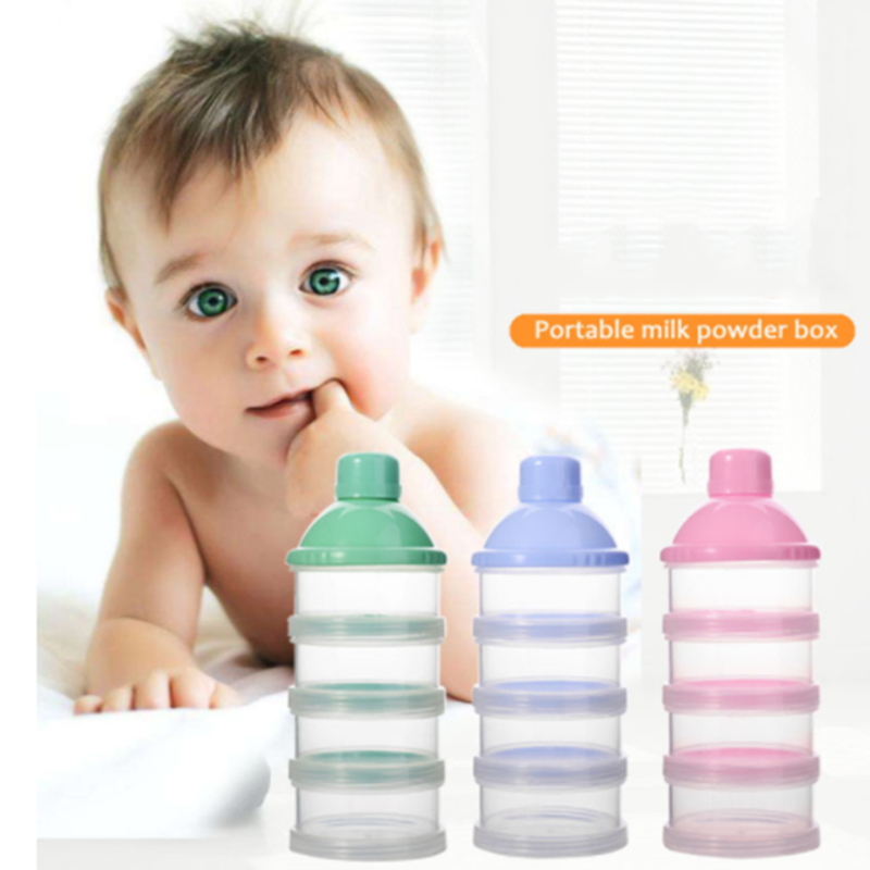 1PCs Portable Milk Powder Formula Dispenser Food Container Feeding Box for Baby Kids Toddler Four Grid Baby Food Storage Box