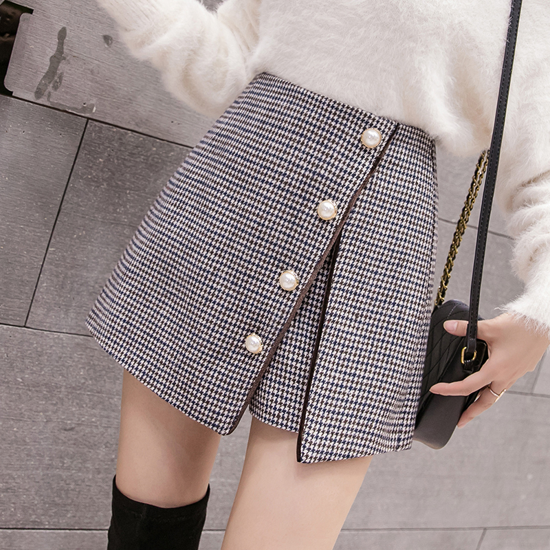 New Women High Waist Shorts Skirts Korean Fashion Irregular Single Breasted Wool Shorts Autumn Winter Casual Woolen Culottes
