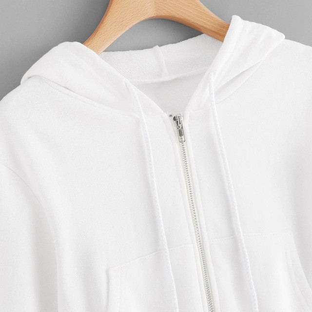 #H30 Spring Autumn Womens Tops And Blouses White Crop Top Women Solid Color Hooded Casual Long Sleeve Zipper Pocket Shirt 5