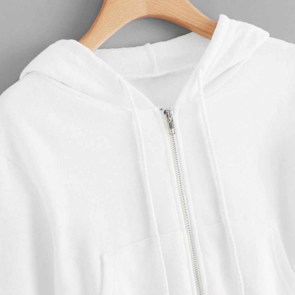 Donne Felpe A Maniche Lunghe Zipper Up Felpa Con Cappuccio Con Tasca Crop Magliette e camicette Casual Abbigliamento Sportivo di Modo di Autunno Solido Pullover #35
