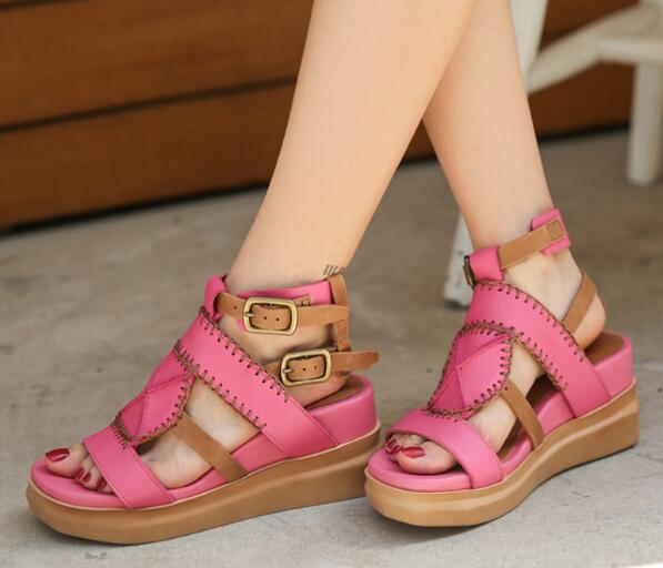 Brown Pink Girls Open Toe 100% Genuine Leather Retro Buckles Platform Wedge Sandals Comfortable Casual High Heels Shoes Lady