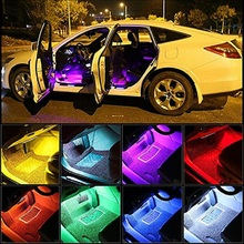 Car Interior Light LED Strip Neon Lamp Decorative Atmosphere Lights Remote Music Voice Control 12V Car RGB Lights 4pcs set rgb 12led car interior neon atmosphere strip light colorful decorative lamp with music remote control dc 12v