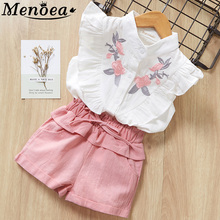 Menoea Girls Suits 2017 New Summer Style Children Beautiful Floral Flower Sleeve Vest Clothing Shorts Suit With Belt 2 Pieces