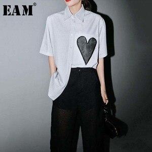 [EAM] Women Gray Striped Split Big Size Blouse New Lapel Half Sleeve Loose Fit Shirt Fashion Tide Spring Summer 2020 1W232